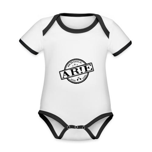 Backdrop AR E stempel zwart gif - Baby contrasterend bio-rompertje met korte mouwen