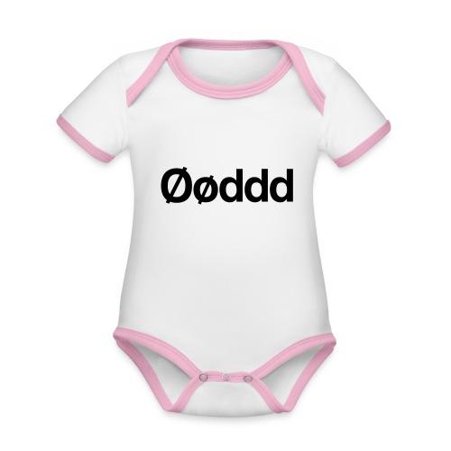 Øøddd (sort skrift) - Kortærmet ækologisk babybody i kontrastfarver