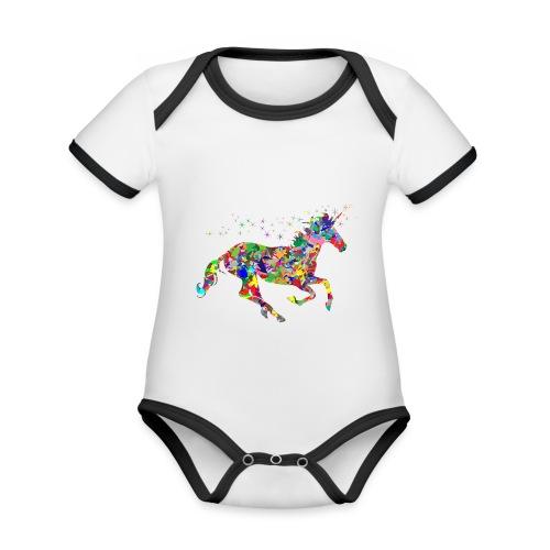 Einhorn - Baby Bio-Kurzarm-Kontrastbody