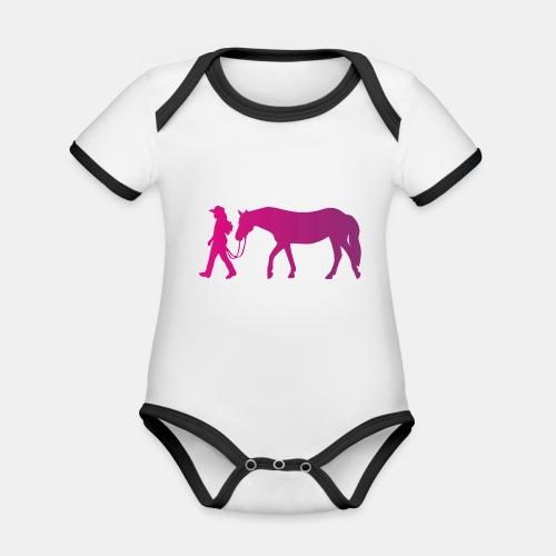 Mädchen führt Pferd, Horsemanship - Baby Bio-Kurzarm-Kontrastbody