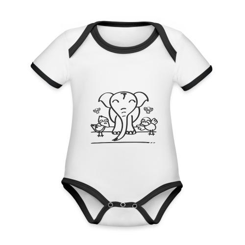 78 elephant - Baby Bio-Kurzarm-Kontrastbody