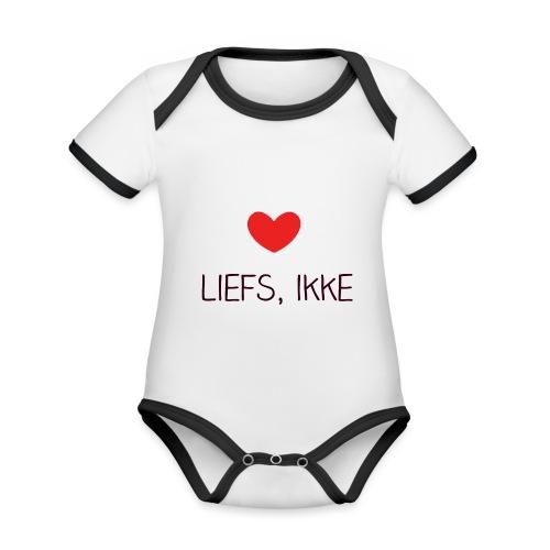 Liefs, ikke - Baby contrasterend bio-rompertje met korte mouwen