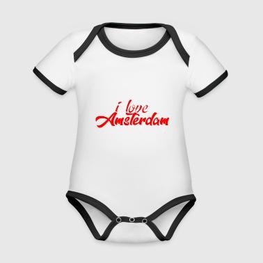 AMSTERDAM - Body da neonato a manica corta, ecologico e in contrasto cromatico