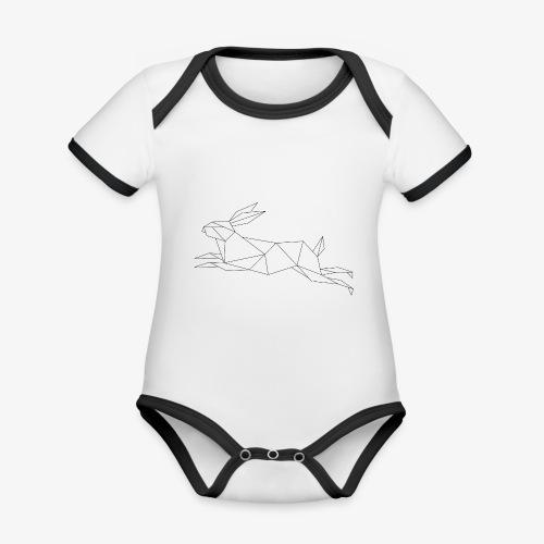 Hase geometrie, Tier geometrisch - Baby Bio-Kurzarm-Kontrastbody