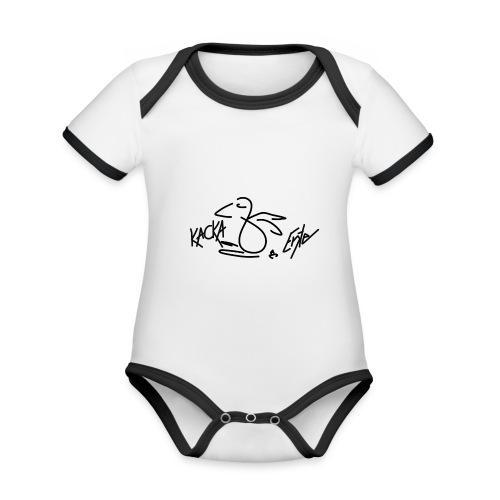 Kacka Ente schwarz - Baby Bio-Kurzarm-Kontrastbody