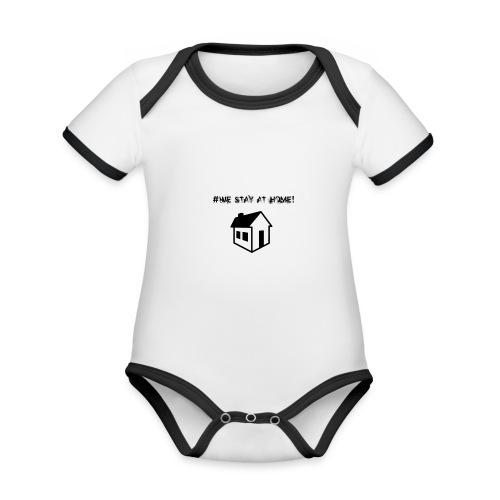 #We stay at home! - Baby Bio-Kurzarm-Kontrastbody