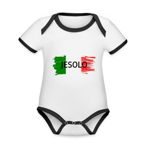 Jesolo auf Flagge - Baby Bio-Kurzarm-Kontrastbody