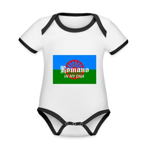 flaglennyinmydna - Ekologisk kontrastfärgad kortärmad babybody