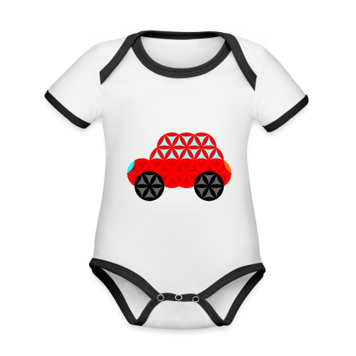 The Car Of Life - M01, Sacred Shapes, Red/R01. - Organic Baby Contrasting Bodysuit
