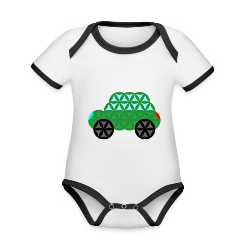 The Car Of Life - M02, Sacred Shapes, Green/363 - Organic Baby Contrasting Bodysuit