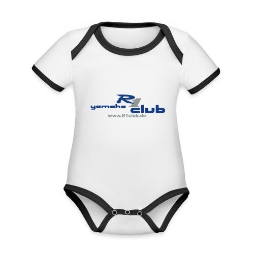 R1club Logo blau - Baby Bio-Kurzarm-Kontrastbody
