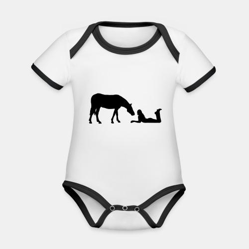 Horsegirl in Love - Baby Bio-Kurzarm-Kontrastbody