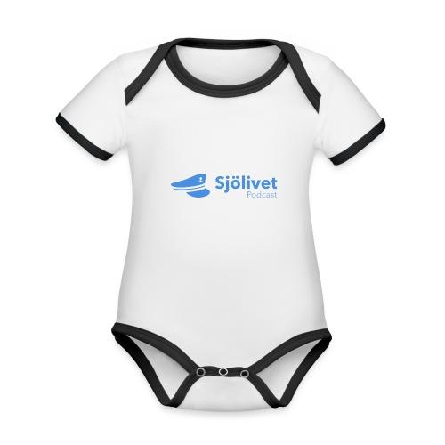 Sjölivet podcast - Svart logotyp - Ekologisk kontrastfärgad kortärmad babybody