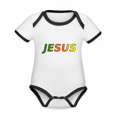 JESUS - grün/orange/gelb - Baby Bio-Kurzarm-Kontrastbody