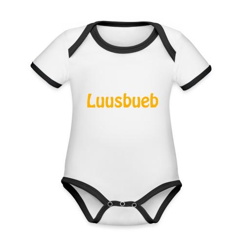 Luusbueb Schwiizertüütsch Mundart - Baby Bio-Kurzarm-Kontrastbody