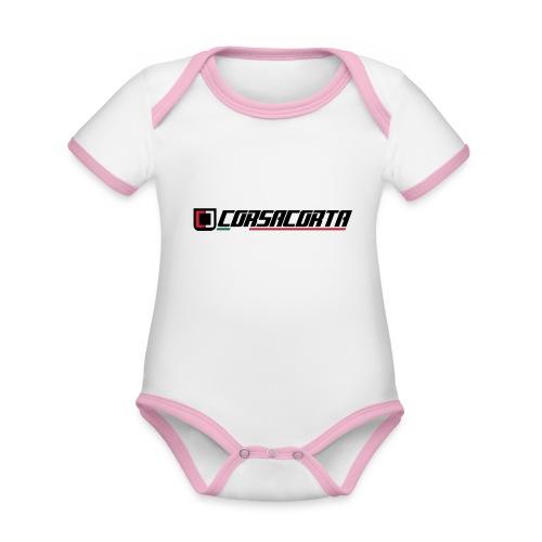 Corsacorta orizzontale - Body da neonato a manica corta, ecologico e in contrasto cromatico