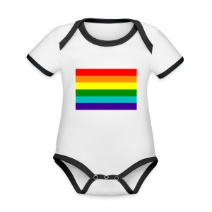 Gay pride rainbow vlag - Baby contrasterend bio-rompertje met korte mouwen