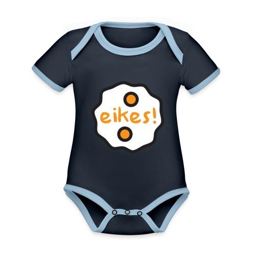 Eikes! - Baby contrasterend bio-rompertje met korte mouwen