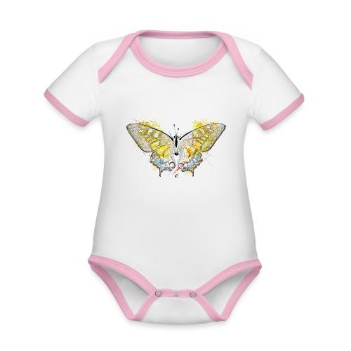 Butterfly color - Body da neonato a manica corta, ecologico e in contrasto cromatico