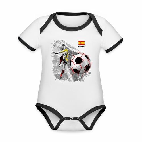 FP22F 02 SPAIN FOOTBALL - Vauvan kontrastivärinen, lyhythihainen luomu-body