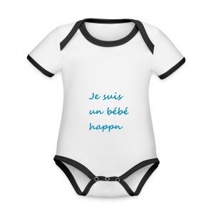 Je suis un bébé happn - Body Bébé bio contrasté manches courtes