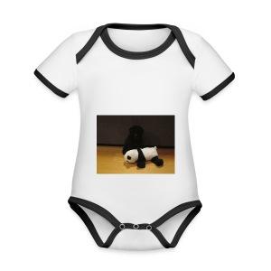 Maggie och pandan - Ekologisk kontrastfärgad kortärmad babybody