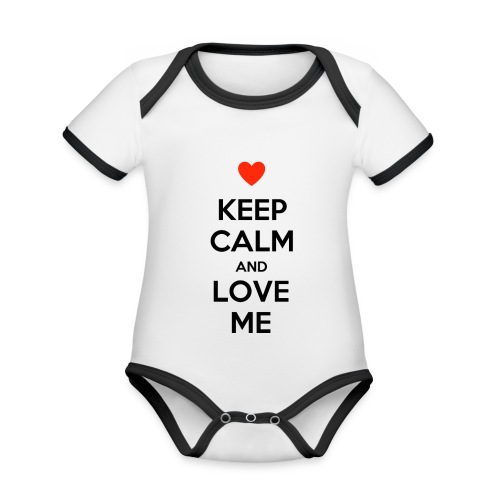 Keep calm and love me - Body da neonato a manica corta, ecologico e in contrasto cromatico