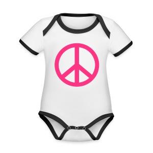 Gay pride peace symbool in roze kleur - Baby contrasterend bio-rompertje met korte mouwen