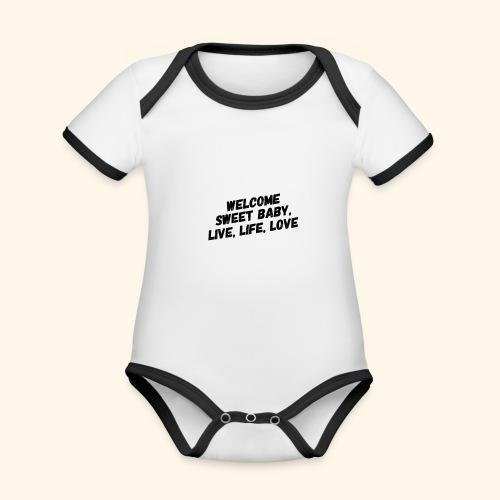 Welcome - Baby contrasterend bio-rompertje met korte mouwen