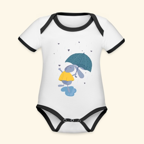 happy in the rain - Organic Baby Contrasting Bodysuit