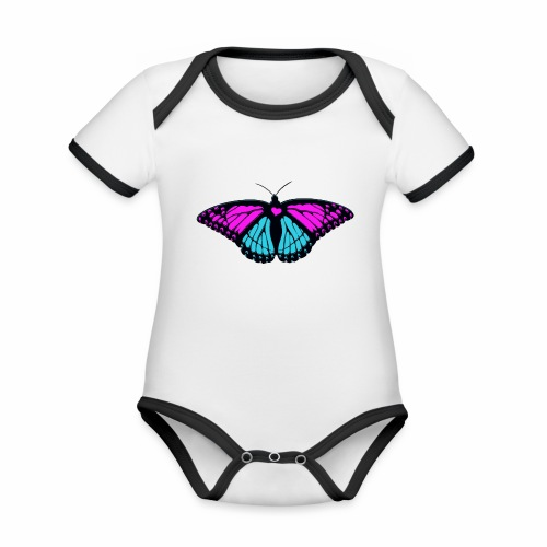 girly girl beautiful butterfly - Organic Baby Contrasting Bodysuit