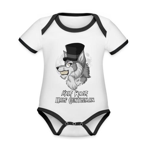 Half Wolf Half Gentleman - Ekologiczne body niemowlęce z krótkim rękawem i kontrastowymi lamówkami