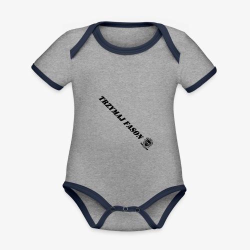 logo napis2 - Ekologiczne body niemowlęce z krótkim rękawem i kontrastowymi lamówkami