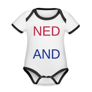 Nederland in de kleuren van de vlag - Baby contrasterend bio-rompertje met korte mouwen
