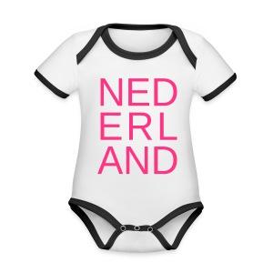 Nederland in de kleur van gay pride roze - Baby contrasterend bio-rompertje met korte mouwen