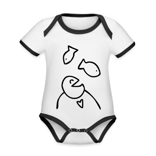 visman3 - Baby contrasterend bio-rompertje met korte mouwen