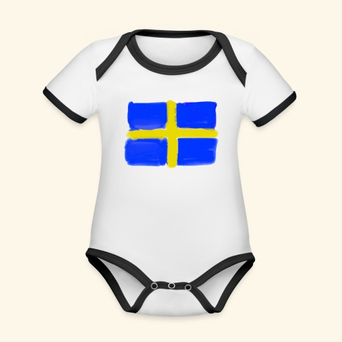 Swedish flag in Watercolours - Ekologisk kontrastfärgad kortärmad babybody