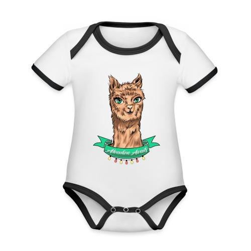 Alpaka Adventure - Baby Bio-Kurzarm-Kontrastbody
