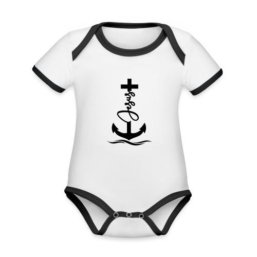 Jesus-Anker black Special - Baby Bio-Kurzarm-Kontrastbody