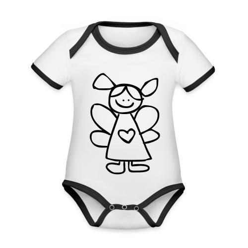 belinda's engeltje - Baby contrasterend bio-rompertje met korte mouwen