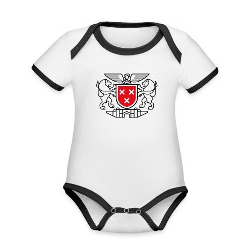 Wapen van Breda - Baby contrasterend bio-rompertje met korte mouwen