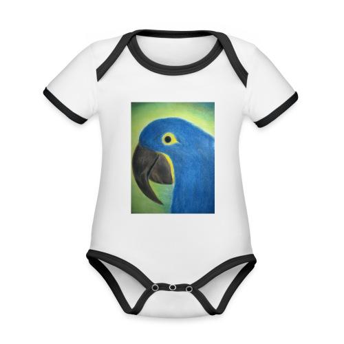 Hyasinttiara - Vauvan kontrastivärinen, lyhythihainen luomu-body
