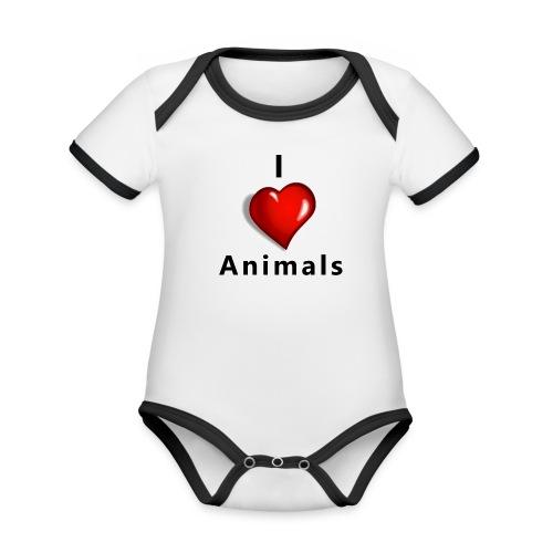 i love animals - Baby contrasterend bio-rompertje met korte mouwen