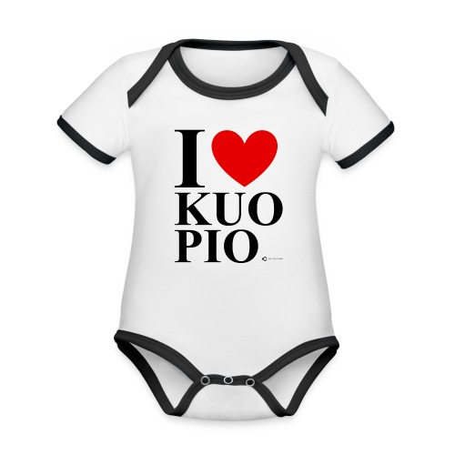 I LOVE KUOPIO ORIGINAL (musta) - Vauvan kontrastivärinen, lyhythihainen luomu-body