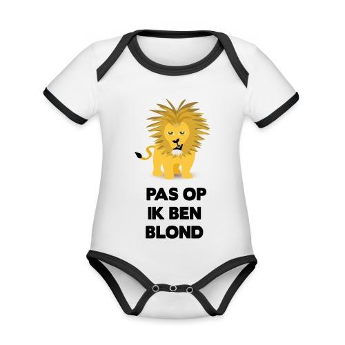 Pas op ik ben blond een cartoon van blonde leeuw - Baby contrasterend bio-rompertje met korte mouwen