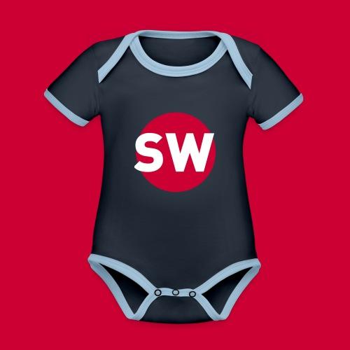 SchipholWatch - Baby contrasterend bio-rompertje met korte mouwen