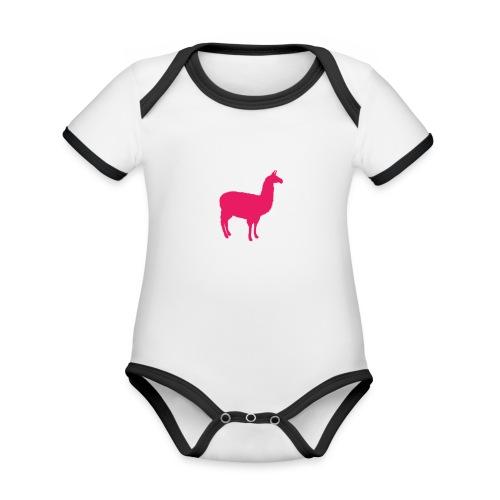 Lama - Baby contrasterend bio-rompertje met korte mouwen