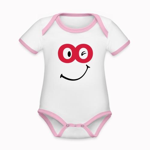 sorriso - Body da neonato a manica corta, ecologico e in contrasto cromatico