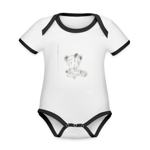 Broken teddybear - Baby contrasterend bio-rompertje met korte mouwen