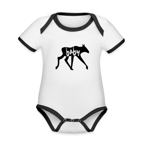 Baby Elch Skandinavien Familie Geschenk - Baby Bio-Kurzarm-Kontrastbody